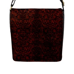 Damask2 Black Marble & Reddish Brown Leather Flap Messenger Bag (l)  by trendistuff