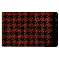 Houndstooth1 Black Marble & Reddish Brown Leather Apple Ipad 2 Flip Case by trendistuff