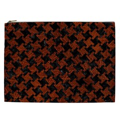 Houndstooth2 Black Marble & Reddish Brown Leather Cosmetic Bag (xxl)  by trendistuff