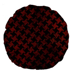 Houndstooth2 Black Marble & Reddish Brown Leather Large 18  Premium Round Cushions by trendistuff