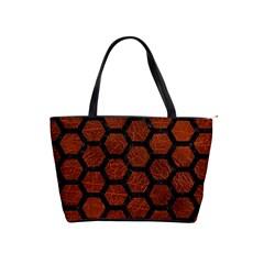 Hexagon2 Black Marble & Reddish Brown Leather Shoulder Handbags by trendistuff