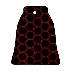 Hexagon2 Black Marble & Reddish Brown Leather (r) Bell Ornament (two Sides) by trendistuff