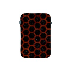 Hexagon2 Black Marble & Reddish Brown Leather (r) Apple Ipad Mini Protective Soft Cases by trendistuff