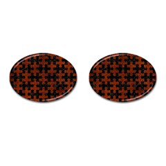 Puzzle1 Black Marble & Reddish Brown Leather Cufflinks (oval) by trendistuff