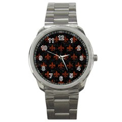 Royal1 Black Marble & Reddish Brown Leather Sport Metal Watch by trendistuff