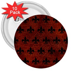 Royal1 Black Marble & Reddish Brown Leather (r) 3  Buttons (10 Pack)  by trendistuff