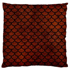 Scales1 Black Marble & Reddish Brown Leather Large Flano Cushion Case (two Sides) by trendistuff