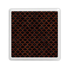 Scales1 Black Marble & Reddish Brown Leather (r) Memory Card Reader (square)  by trendistuff