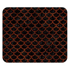 Scales1 Black Marble & Reddish Brown Leather (r) Double Sided Flano Blanket (small)  by trendistuff