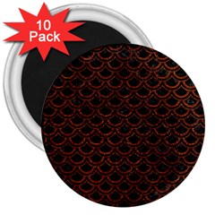 Scales2 Black Marble & Reddish Brown Leather (r) 3  Magnets (10 Pack)  by trendistuff