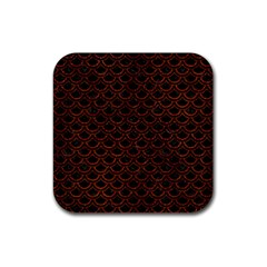 Scales2 Black Marble & Reddish Brown Leather (r) Rubber Coaster (square)  by trendistuff