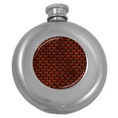 Scales3 Black Marble & Reddish Brown Leather Round Hip Flask (5 Oz) by trendistuff