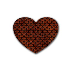 Scales3 Black Marble & Reddish Brown Leather Heart Coaster (4 Pack)  by trendistuff