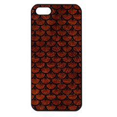 Scales3 Black Marble & Reddish Brown Leather Apple Iphone 5 Seamless Case (black) by trendistuff