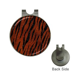 Skin3 Black Marble & Reddish Brown Leather Hat Clips With Golf Markers by trendistuff