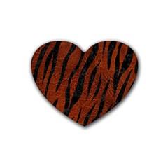 Skin3 Black Marble & Reddish Brown Leather Heart Coaster (4 Pack)  by trendistuff