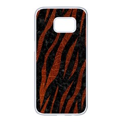 Skin3 Black Marble & Reddish Brown Leather (r) Samsung Galaxy S7 Edge White Seamless Case by trendistuff