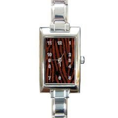 Skin4 Black Marble & Reddish Brown Leather Rectangle Italian Charm Watch by trendistuff