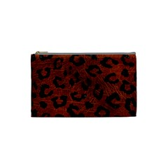 Skin5 Black Marble & Reddish Brown Leather (r) Cosmetic Bag (small)  by trendistuff