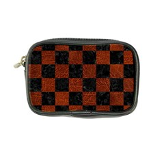 Square1 Black Marble & Reddish Brown Leather Coin Purse by trendistuff