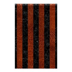 Stripes1 Black Marble & Reddish Brown Leather Shower Curtain 48  X 72  (small)  by trendistuff