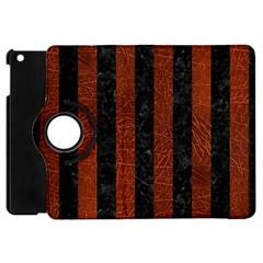 Stripes1 Black Marble & Reddish Brown Leather Apple Ipad Mini Flip 360 Case by trendistuff