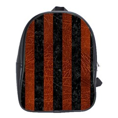 Stripes1 Black Marble & Reddish Brown Leather School Bag (xl) by trendistuff