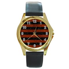 Stripes2 Black Marble & Reddish Brown Leather Round Gold Metal Watch by trendistuff