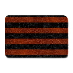 Stripes2 Black Marble & Reddish Brown Leather Plate Mats by trendistuff