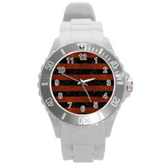 Stripes2 Black Marble & Reddish Brown Leather Round Plastic Sport Watch (l) by trendistuff