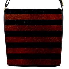 Stripes2 Black Marble & Reddish Brown Leather Flap Messenger Bag (s) by trendistuff
