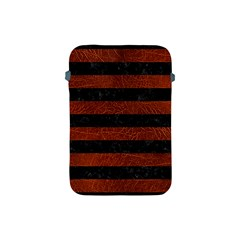 Stripes2 Black Marble & Reddish Brown Leather Apple Ipad Mini Protective Soft Cases by trendistuff