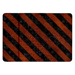 Stripes3 Black Marble & Reddish Brown Leather Samsung Galaxy Tab 8 9  P7300 Flip Case by trendistuff