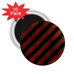 Stripes3 Black Marble & Reddish Brown Leather (r) 2 25  Magnets (10 Pack)  by trendistuff