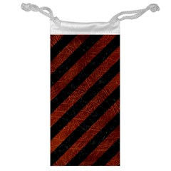 Stripes3 Black Marble & Reddish Brown Leather (r) Jewelry Bag by trendistuff