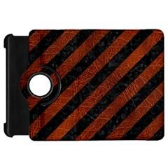 Stripes3 Black Marble & Reddish Brown Leather (r) Kindle Fire Hd 7  by trendistuff