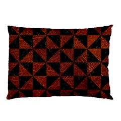 Triangle1 Black Marble & Reddish Brown Leather Pillow Case by trendistuff