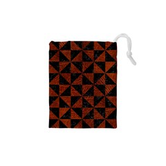 Triangle1 Black Marble & Reddish Brown Leather Drawstring Pouches (xs)  by trendistuff