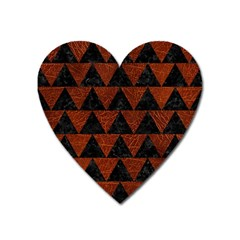 Triangle2 Black Marble & Reddish Brown Leather Heart Magnet by trendistuff