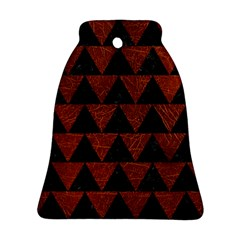 Triangle2 Black Marble & Reddish Brown Leather Bell Ornament (two Sides) by trendistuff