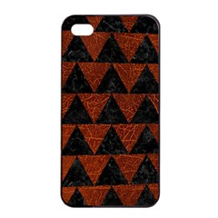Triangle2 Black Marble & Reddish Brown Leather Apple Iphone 4/4s Seamless Case (black) by trendistuff