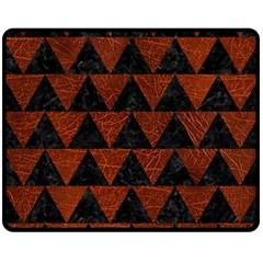 Triangle2 Black Marble & Reddish Brown Leather Double Sided Fleece Blanket (medium)  by trendistuff