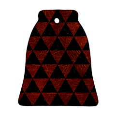 Triangle3 Black Marble & Reddish Brown Leather Bell Ornament (two Sides) by trendistuff