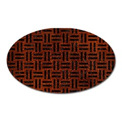 Woven1 Black Marble & Reddish Brown Leather Oval Magnet by trendistuff