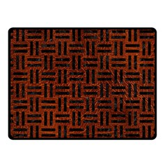 Woven1 Black Marble & Reddish Brown Leather Fleece Blanket (small) by trendistuff