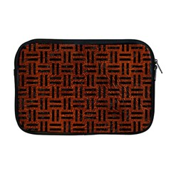 Woven1 Black Marble & Reddish Brown Leather Apple Macbook Pro 17  Zipper Case by trendistuff