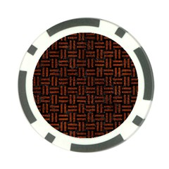 Woven1 Black Marble & Reddish Brown Leather (r) Poker Chip Card Guard by trendistuff