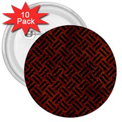 Woven2 Black Marble & Reddish Brown Leather 3  Buttons (10 Pack)  by trendistuff