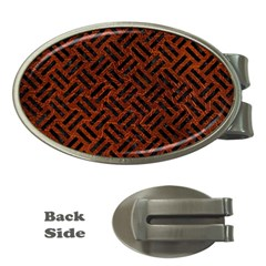 Woven2 Black Marble & Reddish Brown Leather Money Clips (oval)  by trendistuff