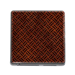 Woven2 Black Marble & Reddish Brown Leather Memory Card Reader (square) by trendistuff